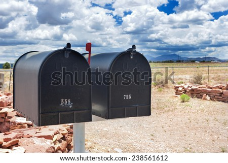 Row of Old Postboxes in Arizona State, USA. Horizontal Image Composition - stock photo