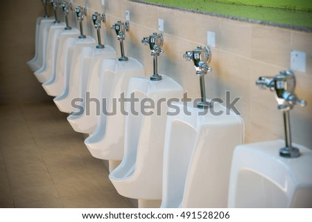 Row Of Outdoor Urinals Men Public Toilet,Closeup White Urinals In Menu0027s  Bathroom, Design
