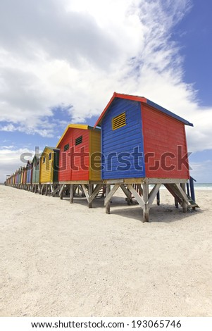 Row of painted beach huts in Cape Town, South Africa - stock photo