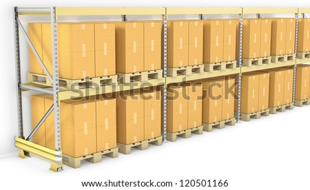 Row of pallet racks with boxes, isolated on white background - stock photo