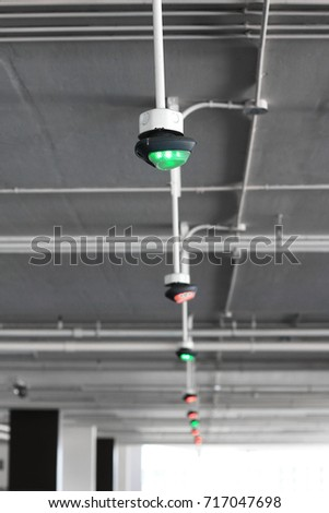 row parking indicator light on ceiling stock photo royalty free