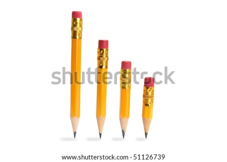 Row of Pencils on Isolated White Background