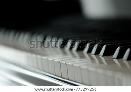 row of piano keys shot in a shallow depth of field