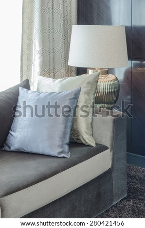 row of pillows on modern sofa in living room at home
