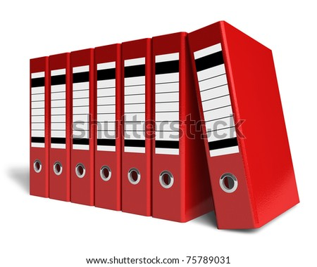 Row of red office folders - stock photo