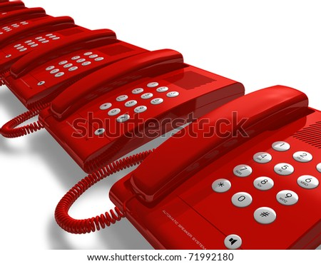 Row of red office phones - stock photo