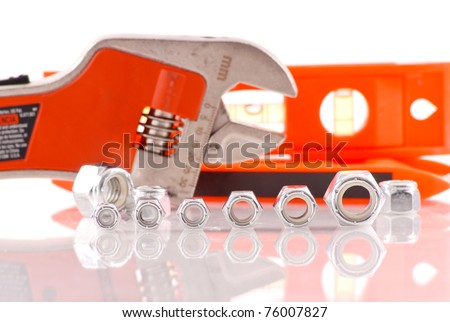 Row of Small to Big Bolt Heads - stock photo