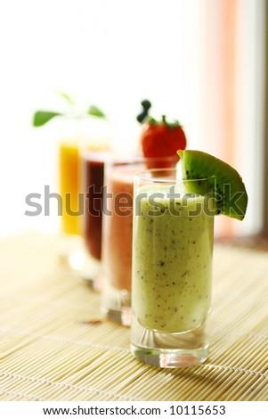 Row of smoothies - stock photo