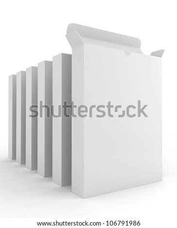 Row of Software Carton Package Blank on white - stock photo