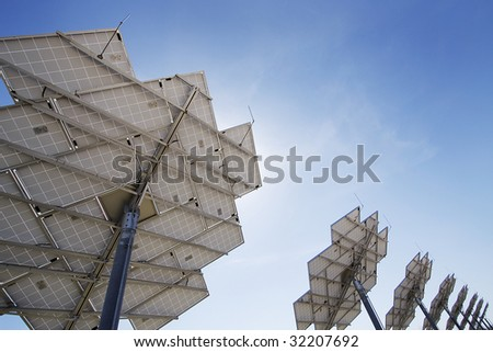 Row of solar units from behind. - stock photo