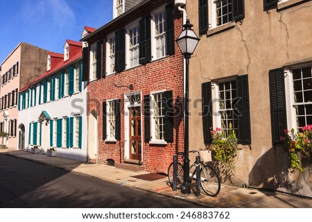 Row of southern architecture buildings in downtown Charleston, South Carolina. - stock photo