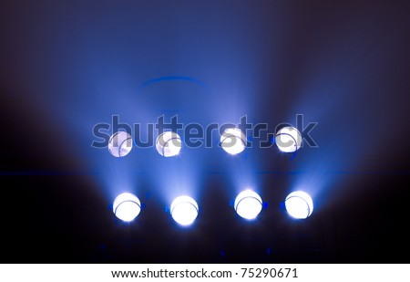 row of stage lights - stock photo