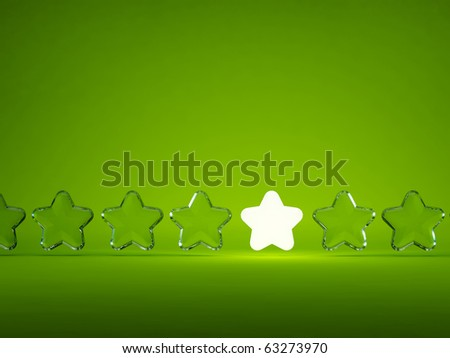 Row of stars with light isolated on green background