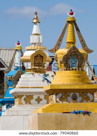 Row of stupa in Gandan buddhist monastery, Ulaanbaatar, Mongolia - stock photo