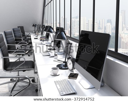 row of tables in front of the panoramic window in an office. Computers and stuff on them. City view. Concept of a modern office. 3D rendering