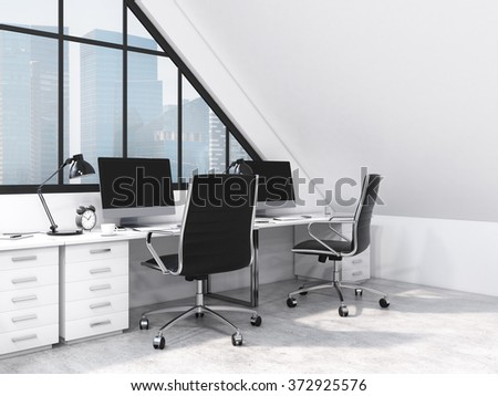 row of tables in front of the panoramic window in an office situated in the attic. Computers and stuff on them. City view. Concept of a modern office. 3D rendering - stock photo