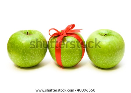 Row of three apples isolated on the white - stock photo