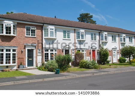 Row of Typical English Terraced Houses, South East of the UK - stock photo