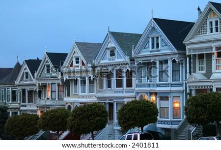 row of victorian houses - stock photo