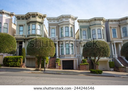 Row of victorian houses in San Francisco