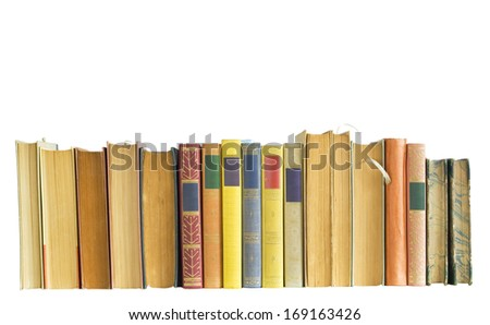 row of vintage books isolated on white background, empty labels,free copy space