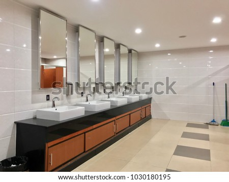 Row of wash sink and mirror in public toilet restroom decoration & Row Wash Sink Mirror Public Toilet Stock Photo (Royalty Free ...