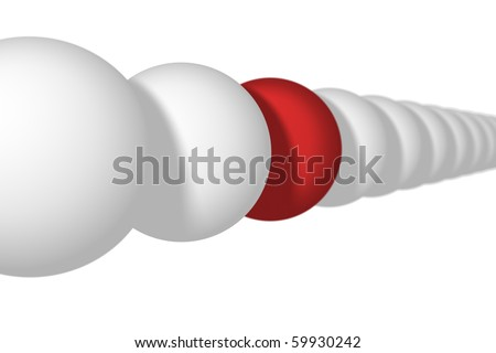 row of white balls with one red ball - stock photo