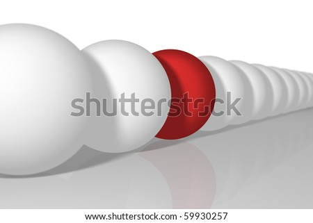 row of white balls with one yellow ball - stock photo