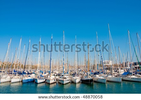 Row of yachts in Barcelona - stock photo
