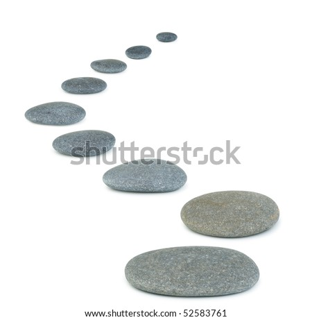 Row pebbles. Sea stones. It is isolated on a white background - stock photo