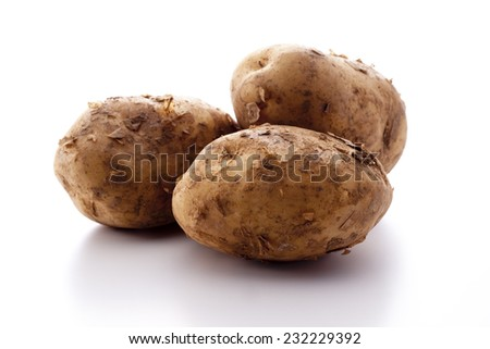 row potato on white background - stock photo