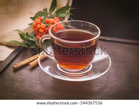 Rowan berries, cup of tea and cinnamon sticks on dark wooden background