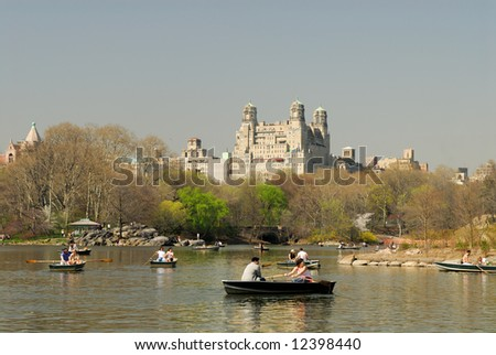 Rowboats on the lake in the Central Park, New York - stock photo