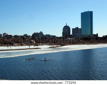 Rowing on the Charles view from longfellow bridge Boston - stock photo