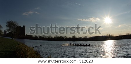 Rowing team at Charles River, Boston - stock photo