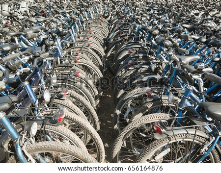 Rows and rows of bicycles