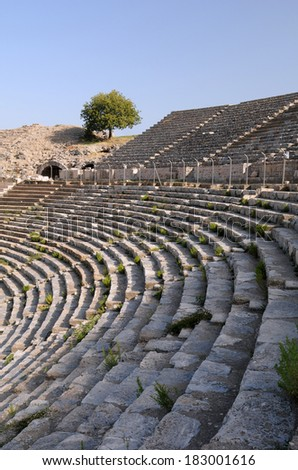 Rows of ancient theater in Ephesus, Turkey - stock photo