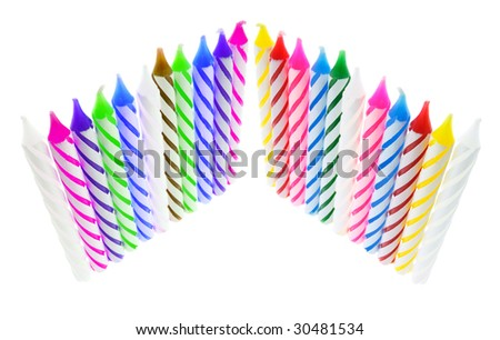 Rows of Birthday Candles on White Background - stock photo