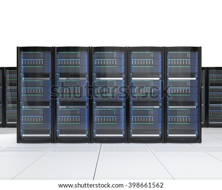 Rows of blade server system on white background. 3D rendering image.