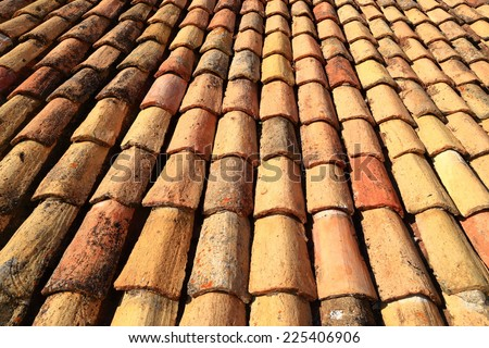 Rows of ceramic roof tiles from the old town of Dubrovnik, Croatia - stock photo