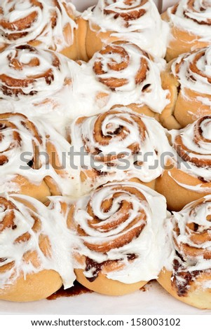 rows of cinnamon buns - stock photo