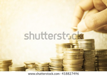 rows of coins and account for finance and banking concept
