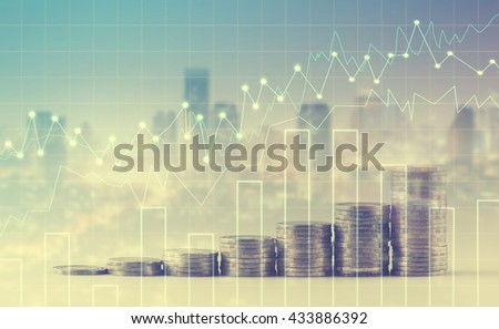 rows of coins for finance and banking concept with Forex graph on the business background. A metaphor of international financial consulting - stock photo