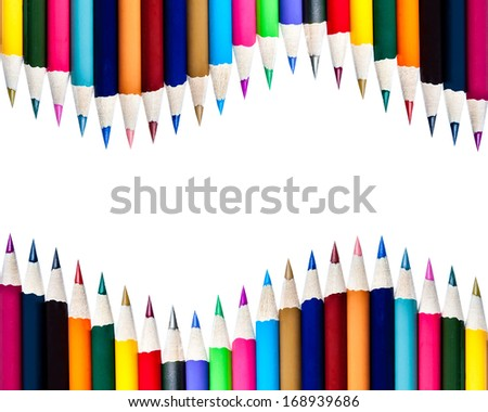 Rows of Color Pencils Isolated on White - stock photo