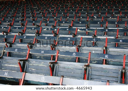 Rows of empty seats.