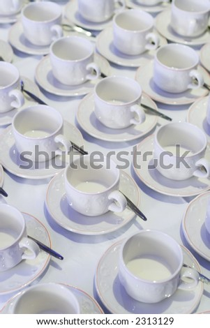 Rows of empty tea cups and saucers waiting to be filled.