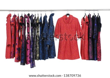 Rows of evening gown on a clothesline