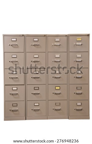 Rows Of File Cabinets With Blank Cards Isolated On White/ File Cabinets - stock photo