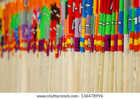 Rows of files in a medical office - stock photo