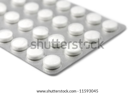 Rows of Foil Packaged White Pills
